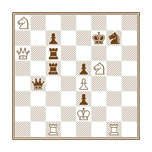 1.Txg7+, Rf6; 2.Dxc6+!!, Txc6; 3.Txc6+, Dd6; 4.Txd6+, cxd6; 5.Cc7, d5; 6.Cxd5+ Re6; 7.Te7 mate y con la ejecución del soberano negro se formaba en el tablero la señal de la cruz. Era el mismo Lucifer en persona quien, con atuendo de mujer, jugaba contra Boi y prefirió huir antes que formar la divina señal.