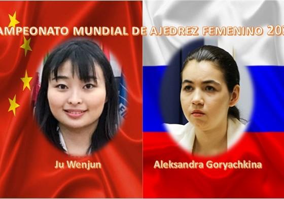 Ju Wenjun y Aleksandra Goryachkina con bandera de China y Rusia
