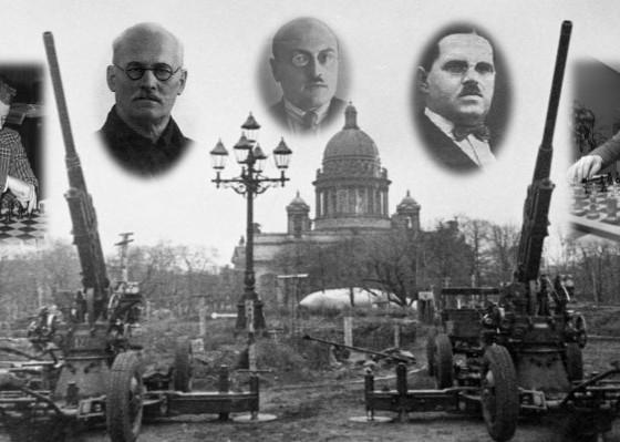 Boris Spassky, Ilya Ravinovich, Alekséi Troitski, Leonid Kúbel y Víctor Korchnoi