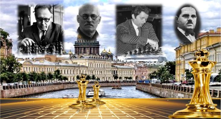 Mikhail Botvinnik, Alexei Troitski, Boris Spassky y Leonid Kúbel