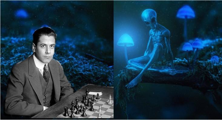 Raul Capablanca juando con un alien extraterrestre