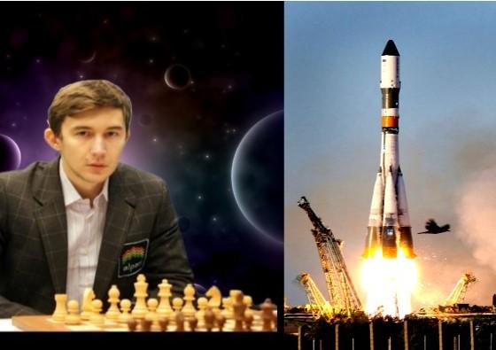 Sergey Karjakin jugando con un astronauta de la Estación Espacial ISS