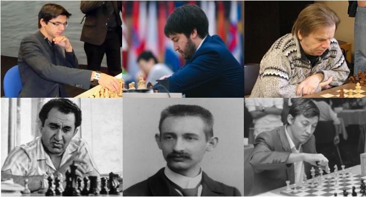 Anish Giri, Teimour Rádjabov,, Ulf Andersson, Tigrán Petro, Karl Schlechter y Anatoly Kárpov