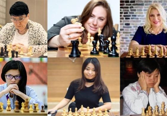 Nona Gaprindashvili, Judit Polgar, Susan Polgar, Hou Yifan, Ju Wenjun. y Xie Jun