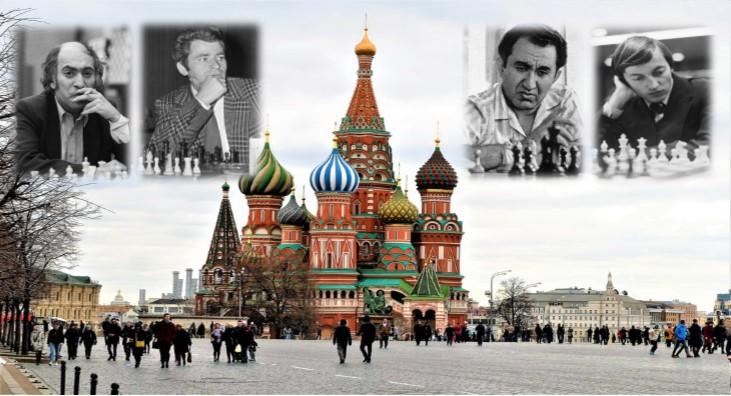 Mikhail Tal, Boris Spassky, Tigrán Petrosián y Anatoly Kárpov
